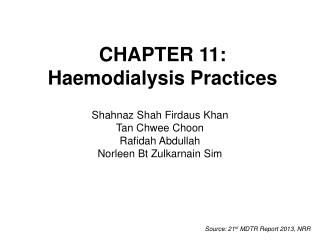 CHAPTER 11: Haemodialysis Practices