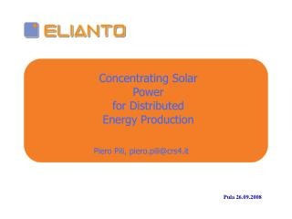 Concentrating Solar Power  for Distributed  Energy Production