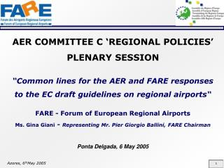 AER COMMITTEE C 'REGIONAL POLICIES'  PLENARY SESSION