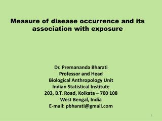 Measure of disease occurrence and its association with exposure