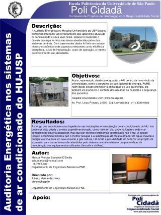 Auditoria Energética nos sistemas de ar condicionado do HU-USP