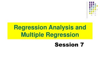 Regression Analysis and Multiple Regression