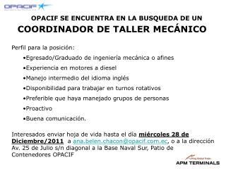 COORDINADOR DE TALLER MECÁNICO