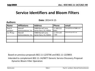 Service  Identifiers and Bloom Filters