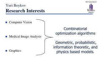 Yuri Boykov Research Interests