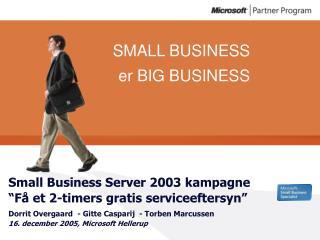 """Small Business Server 2003 kampagne """"Få et 2-timers gratis serviceeftersyn"""""""