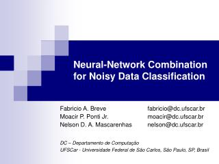 Neural-Network Combination for Noisy Data Classification
