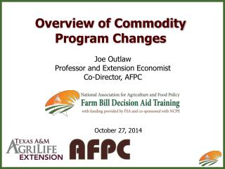 Overview of Commodity Program Changes