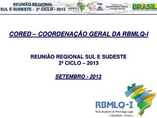 REUNIÃO  REGIONAL SUL E SUDESTE   2º  CICLO  – 2013