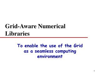 Grid-Aware Numerical Libraries