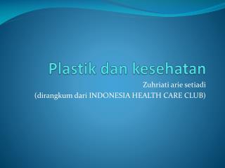 Plastik dan kesehatan