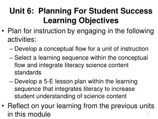 Unit 6:  Planning For Student Success Learning Objectives