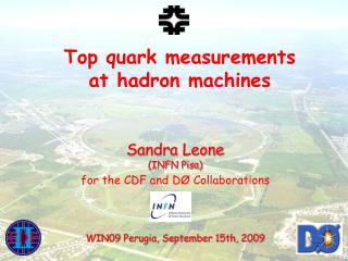 Top quark measurements       at hadron machines