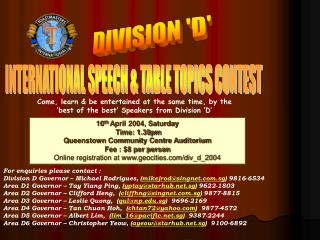 INTERNATIONAL SPEECH & TABLE TOPICS CONTEST