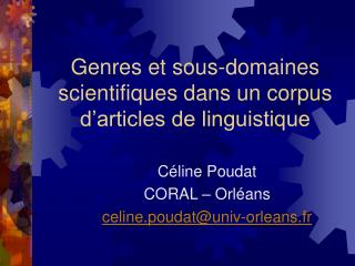 Genres et sous-domaines scientifiques dans un corpus d'articles de linguistique