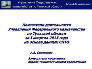 Показатели деятельности  Управления Федерального казначейства по Тульской области