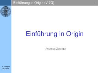 Einf�hrung in Origin