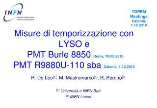 R. De Leo [1] , M. Mastromarco [1] ,  R. Perrino [2] [1] Universit à e  INFN Bari [2] INFN Lecce