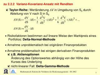 zu 2.2.2  Varianz-Kovarianz-Ansatz mit Renditen