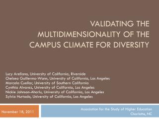 Validating the Multidimensionality of the Campus Climate for Diversity