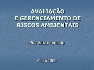 AVALIAÇÃO  E GERENCIAMENTO DE RISCOS AMBIENTAIS