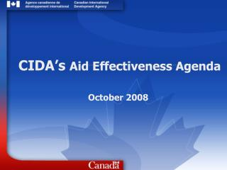 CIDA's  Aid Effectiveness Agenda