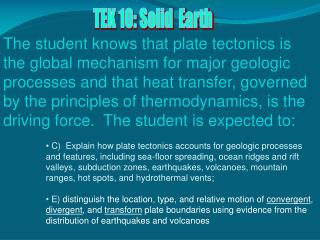 TEK 10: Solid  Earth