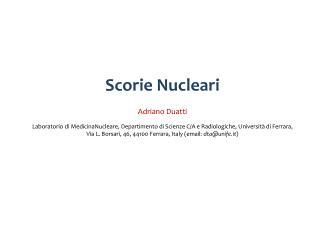 Scorie Nucleari Adriano Duatti