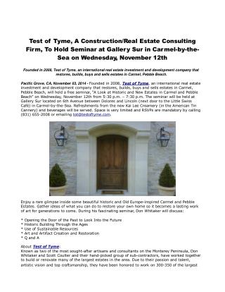 Test of Tyme, A Construction/Real Estate Consulting Firm
