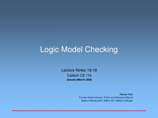 Logic Model Checking