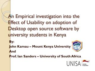 By: John  Kamau  – Mount Kenya University And Prof. Ian Sanders – University of South Africa