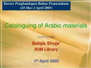 Cataloguing of Arabic materials