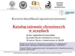 dr inż. Agnieszka  Gryszczyńska Katedra Prawa Informatycznego Wydział Prawa i Administracji UKSW