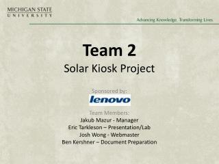 Team 2 Solar Kiosk Project