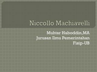 Niccollo  Machiavelli