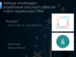 Aplikacja umożliwiająca projektowanie sztucznych cząsteczek małych regulatorowych RNA