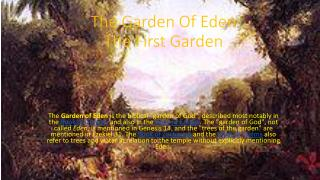 The Garden Of Eden The First Garden