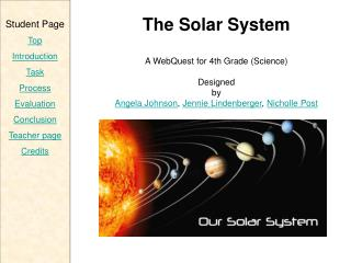 The Solar System A  WebQuest  for  4th  Grade  (Science) Designed by