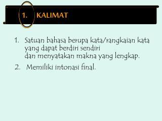 1.      KALIMAT