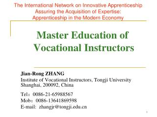 Master Education of  Vocational Instructors