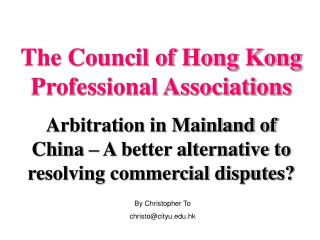 The Council of Hong Kong Professional Associations