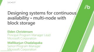 Designing systems for continuous availability - multi-node with  block storage