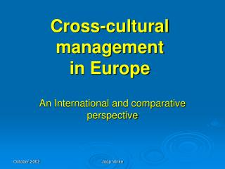 Cross-cultural management  in Europe