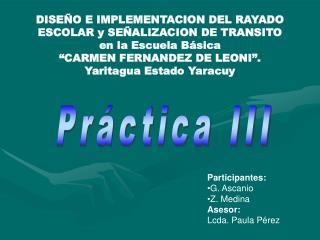 DISEÑO E IMPLEMENTACION DEL RAYADO ESCOLAR y SEÑALIZACION DE TRANSITO  en la Escuela Básica