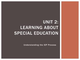 Unit 2: Learning About Special Education