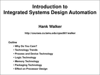 Introduction to Integrated Systems Design Automation