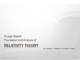 Relativity Theory                           by H. Andr ka, J. X. Madar sz, I.  P. N meti, G. Sz kely
