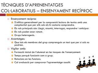 T�CNIQUES D�APRENENTATGES COL�LABORATIUS � ENSENYAMENT REC�PROC