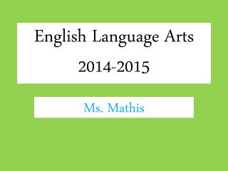 English Language Arts 2014-2015