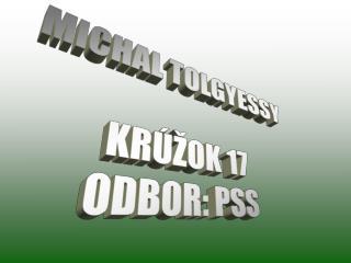 MICHAL TOLGYESSY KRÚŽOK 17 ODBOR: PSS
